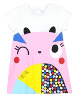 Tuc Tuc Little Girl's Jersey Dress with Colour-Block Print