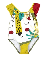 Tuc Tuc Little Girl's One-piece Swimsuit with Safari Print