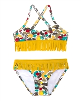 Tuc Tuc Little Girl's Bikini in Spot Print with Fringe
