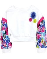 Tuc Tuc Girl's Cropped Sweatshirt with Woven Sleeves
