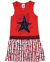 Tuc Tuc Girl's Tank Dress with Stripe and Dot Bottom