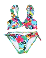 Tuc Tuc Girl's Ruffled Bikini in Tropical Print
